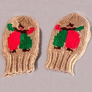 Hand Knit tan Mittens with red and green clowns