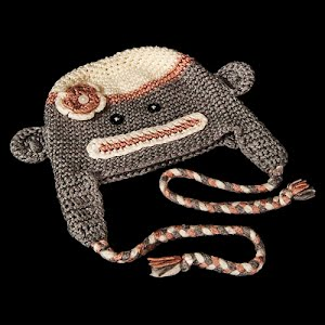 Hand Knit gray, white, and pink Childs monkey hat