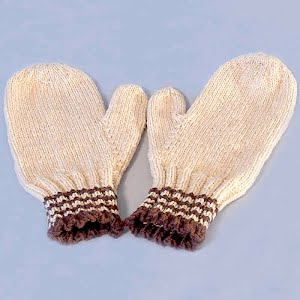 Hand Knit tan Mittens with brown stripes
