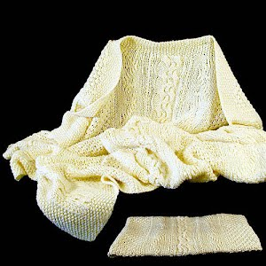 Hand Knit Ecru Baby Blanket Cable and Fishermans Net Design