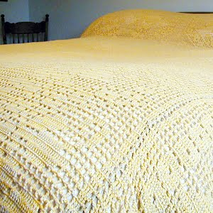 Hand Crocheted Gold Bedspread