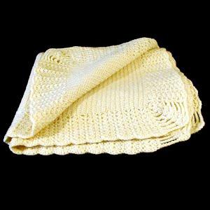 Hand Knit Ecru Baby Blanket