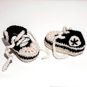 Handmade Crocheted Converse Black and White Baby Sneakers