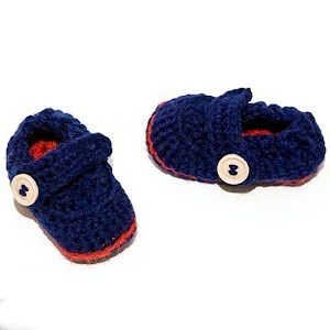 Handmade Crocheted Blue and Red Baby Boat Shoes