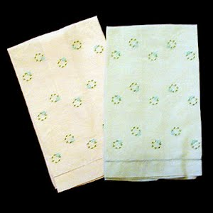 Vintage linen hand towels with cut work and embroidery
