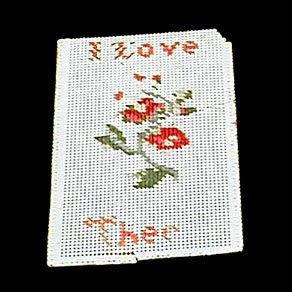 Antique Sewing Needlework Card, I Love Thee