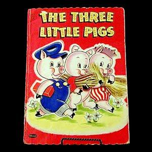 Vintage 1951 Three Little Pigs Children Book