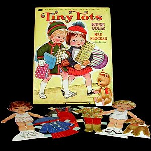 Original vintage 1967 Tiny Tots Paper Dolls with red flocked clothes