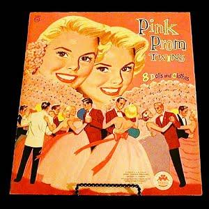 Original vintage 1956  Pink Prom Twins Paper Dolls