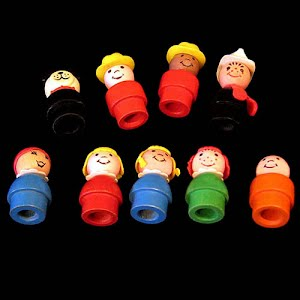 Vintage 1969 Fisher Price Little People Wooden Family Dolls