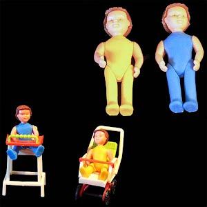 Vintage 1970 Bruder dollhouse dolls with stroller and highchair