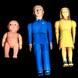 Vintage 1950 Renwal dollhouse dolls, father, daughter, baby
