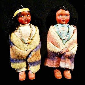 Vintage 1950 Skookum Native American Indian Dolls