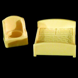 Vintage Fisher Price Little People double bed and chair Furniture