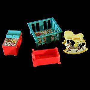 Vintage Fisher Price Little People Baby Nursery Furniture