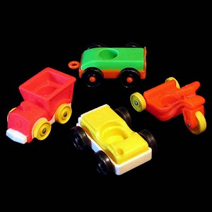 Vintage Fisher Price Little People vehicles car, train, tricycle