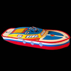 Windup Speedboat tin lithograph toy