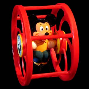 Vintage Mickey Mouse Rolling wheel Toy