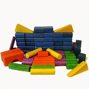 Multicolored Wood Building Blocks Toys