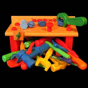 Vintage Wooden Work Bench with Tools Toy
