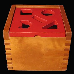 Vintage Wooden Square Box made in Finland Toy