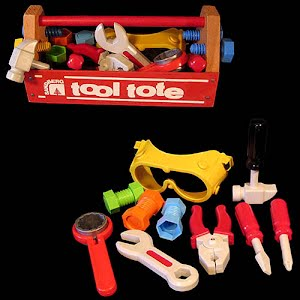 Vintage Tool Tote Toolbox with tools toy