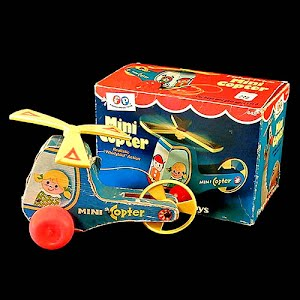 Vintage 1970 Fisher Price Mini Copter pull toy with box