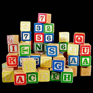 Vintage Wooden Blocks with letters and numbers toy