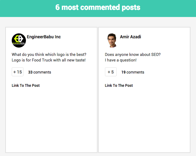 community meter - most commented posts