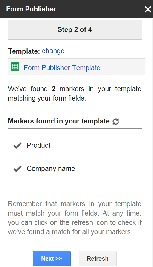 Form Publisher - markers in template