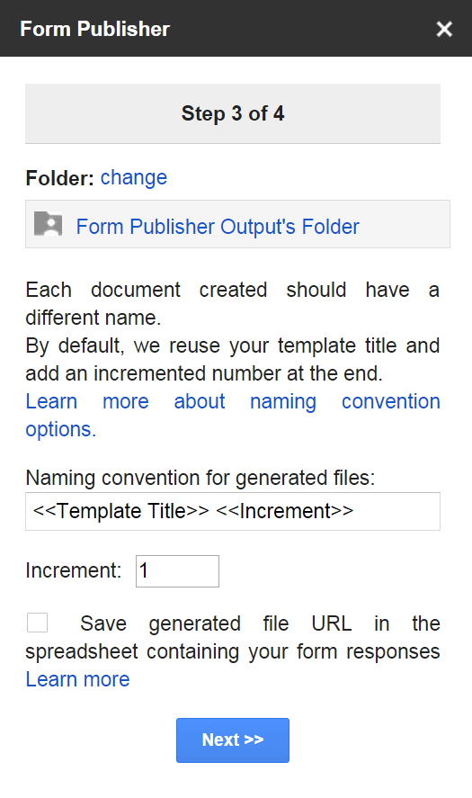 Form Publisher - output forlder & naming convention