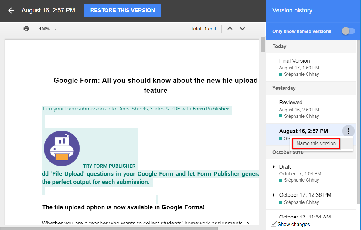how to undo a specific change on google docs
