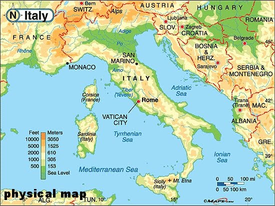 General Info Italy - Physical map of italy
