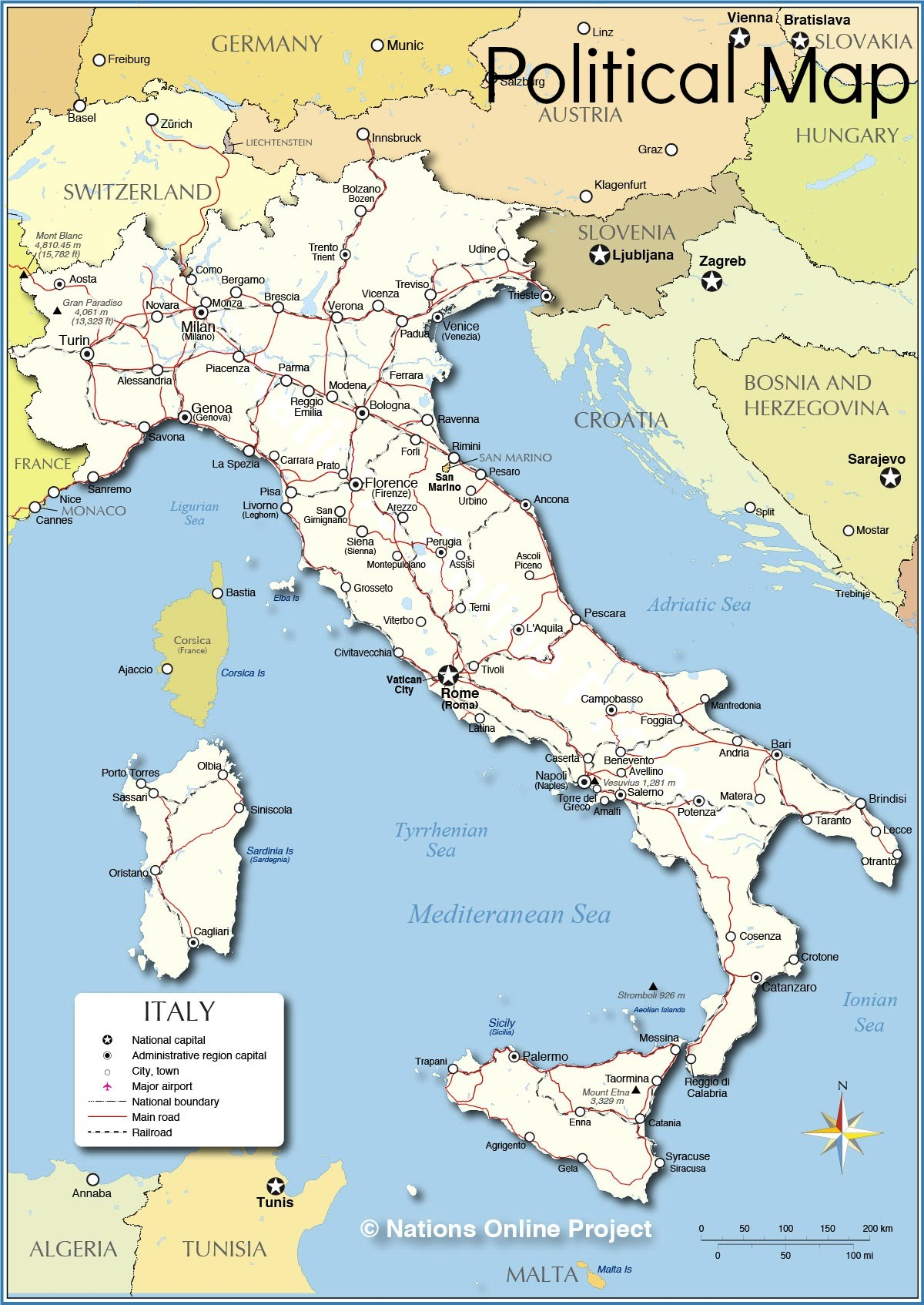 General Info Italy - Austria physical map