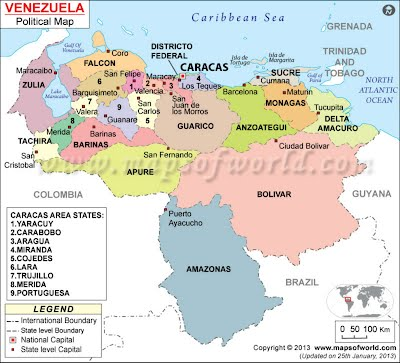 Venezuelapoliticalmapjpgheightwidth - Physical of map venezuela
