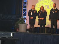 Kelley Koester and Codie Geisz getting recognized as American FFA Degree Candidates at the State FFA Convention