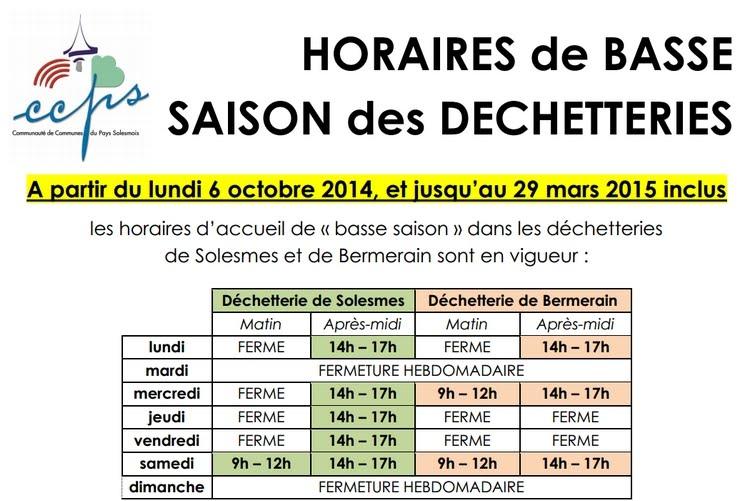 Annexe 1 : horaires 2014