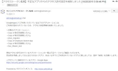 googleappsアクセストークン監視ツール マニュアルページ ツール番号