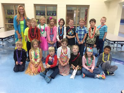 Mrs. Kerkow's Class dressed for Hawaiian Day