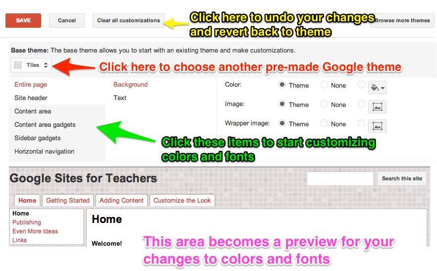 Themes, Colors, and Fonts - Google Sites for Teachers