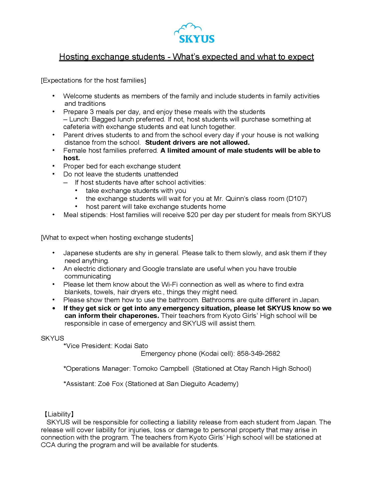 Host a Japanese Exchange Student Info Page 2