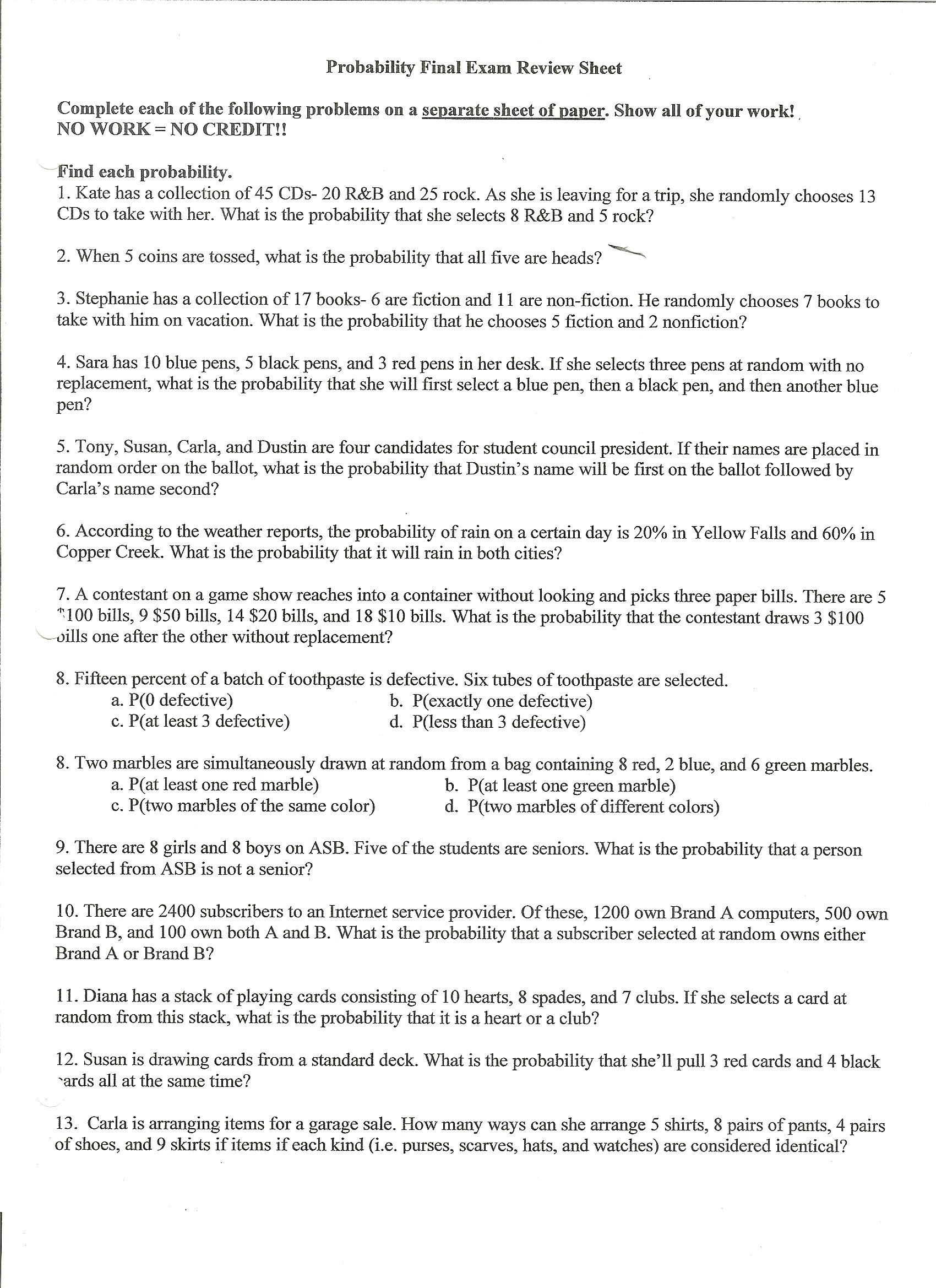 worksheet Probability Review Worksheet probability final exam review sheet 001 jpg jpg