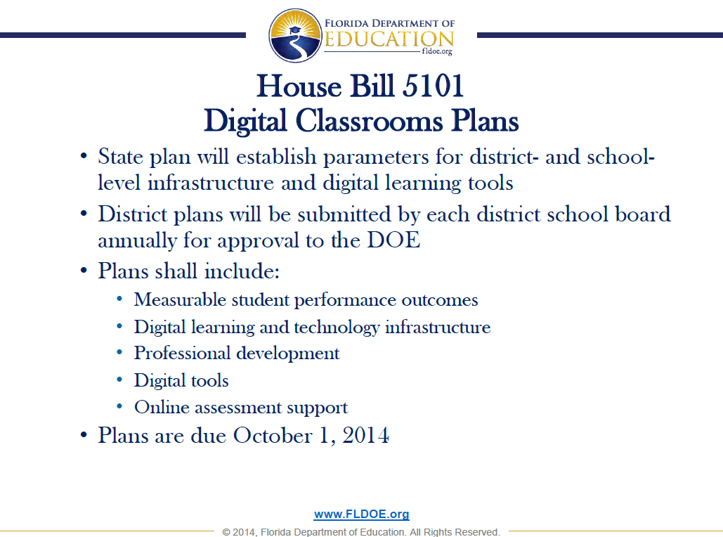 House Bill 5101 Digital Classrooms Plans