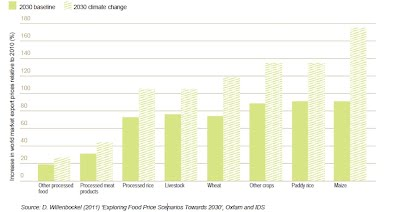Figure 10 - real food price changes predicted for 2030