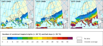 Figure 8 - maps show changes in extreme temperture for two future periods