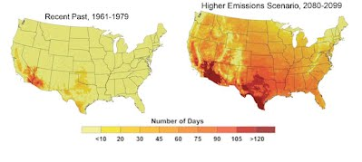 Figure 9 - number of days expecvted over 100 degrees F in 2100