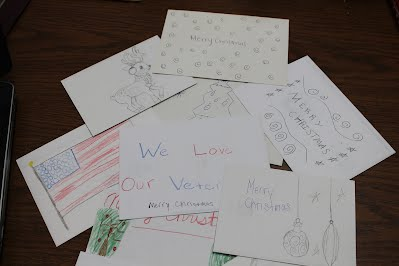 the decorated envelopes of the christmas cards sent to the veterans - Christmas Cards For Veterans