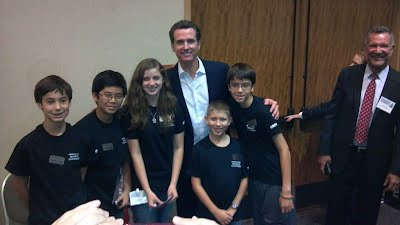 Lt. Governor Newsom with MoonBots X-Treme Team