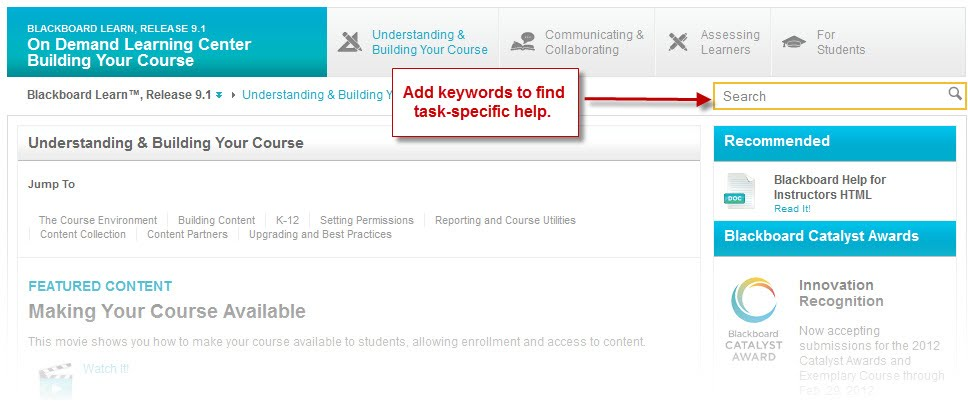 Blackboard 9 On Demand help search page