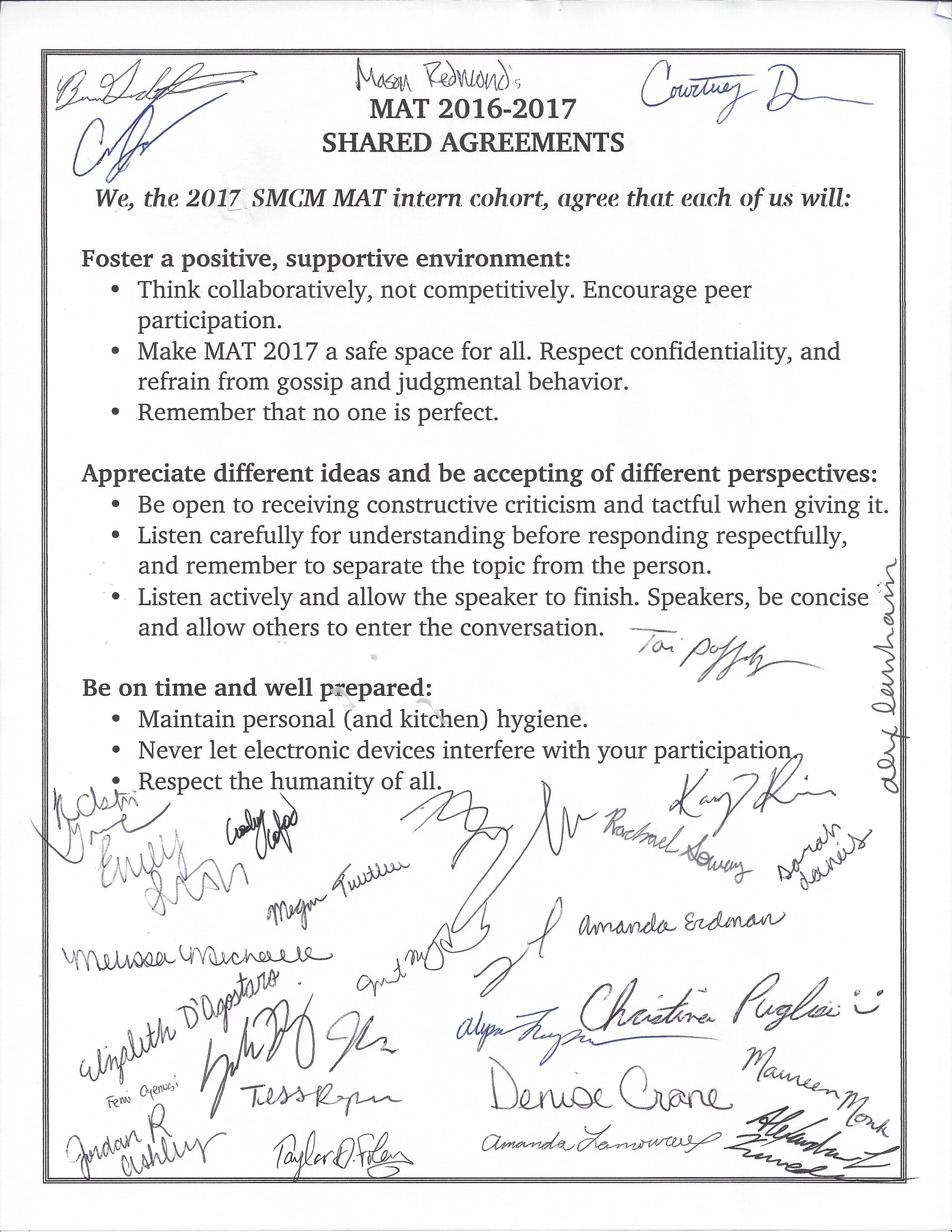 Shared Agreementsnorms Mat 2016 2017 Mat Handbook